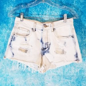Bullhead High Rise Distressed White Denim Shorts